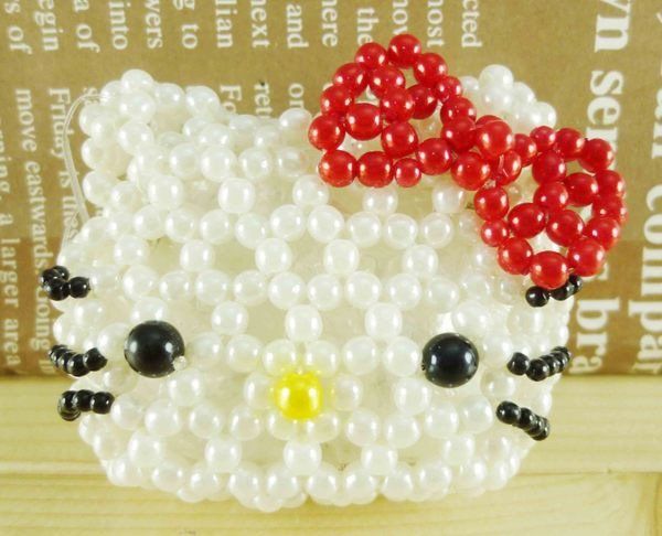 【震撼精品百貨】Hello Kitty 凱蒂貓-凱蒂貓造型零錢包-珠珠材質-大頭造型