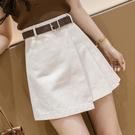 超短裙 不規則半身裙2021夏季新款潮設計感女小眾高腰a字短裙顯瘦百褶裙