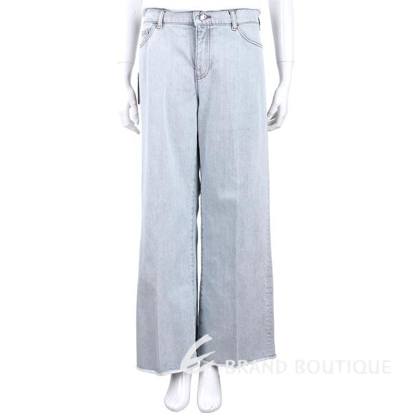 Emporio Armani 淺藍色不修邊大寬口落地牛仔褲 1920270-D6