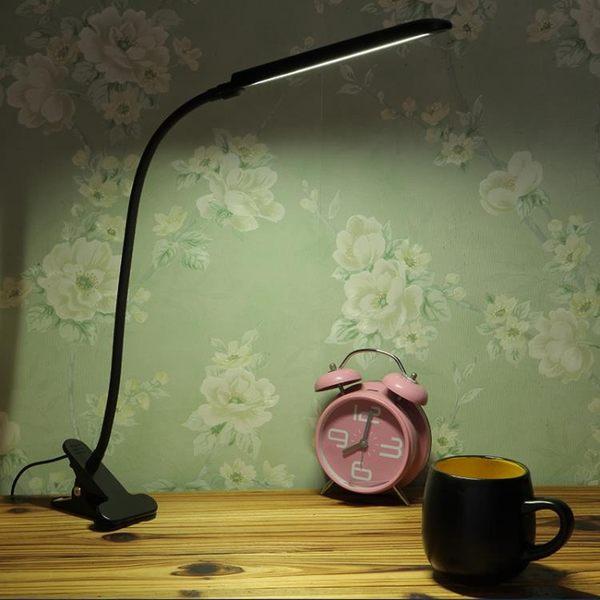 LED夾子檯燈護眼學習 學生書桌燈寫字閱讀燈 可充電臥室床頭檯燈『名購居家』