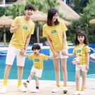 黃色彩條紋上衣T恤親子裝情侶裝(大人下單區)