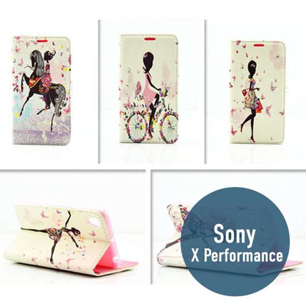 SONY Xperia X Performance 蝶戀花水鑽皮套 側翻皮套 插卡 手機套 保護套 手機殼 手機套 皮套