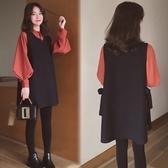 漂亮小媽咪洋裝洋裝 【D1228】 韓系 兩件式 V領 綁帶 背心裙 背心洋裝 泡泡袖 毛呢 孕婦裝