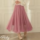 裙子 素色雙層網紗鬆緊紗裙長裙-Ruby...