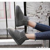 雪地靴 女短筒韓版百搭學生冬季厚底棉靴保暖加絨短靴棉鞋 df7012【大尺碼女王】