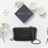 《高仕皮包》【免運費】BERNIS翻蓋小香包-小羊皮菱格紋系列BNA18042BK