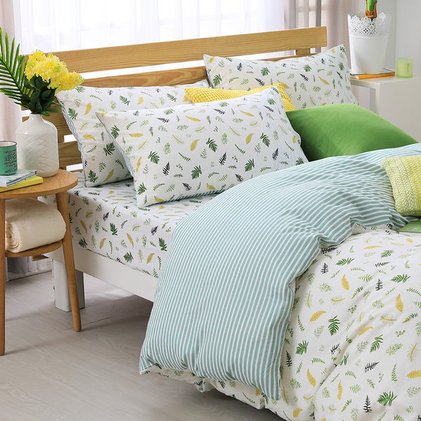 鴻宇 雙人薄被套床包組 100%精梳純棉 小葉子 台灣製2155
