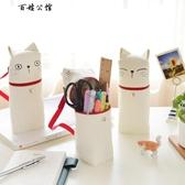 百姓公館 可愛帆布卡通筆袋創意女生貓咪文具盒