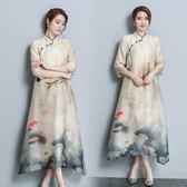 新款復古中國風女裝改良旗袍中式印花寬鬆優雅鯉魚游荷塘 DN12805【潘小丫女鞋】