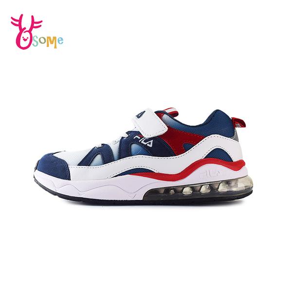 FILA童鞋 男童運動鞋 氣墊鞋 慢跑鞋 運動鞋 跑步鞋 魔鬼氈運動鞋 大童 康特杯 R7671#配色◆奧森