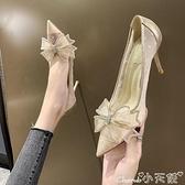 高跟鞋 單鞋女秋季2021年新款仙女風百搭細跟高跟鞋尖頭水鉆蝴蝶結伴娘鞋 小天使
