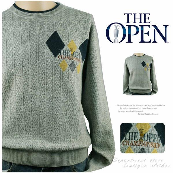 【大盤大】BRITISH OPEN GOLF 日本製 MA號 圓領毛衣 百貨專櫃 生日禮物 菱格 長袖毛衣