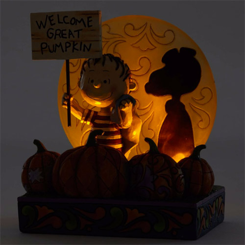 Enesco Peanuts SNOOPY史努比 50週年萬聖節史努比與奈勒斯南瓜塑像_EN89277