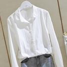 棉麻白色襯衫女2021春秋新款寬鬆韓版長袖原宿襯衣上衣設計感小眾 設計師