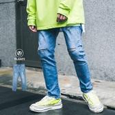 《預購7天》【YIJIAYI】水洗刷白 丹寧牛仔 三角形吊飾 膝蓋刀割 窄管版型 長褲【X廠】(X-19013)