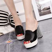款厚底高跟女鞋魚嘴女涼拖鞋防水台粗跟黑色試衣間女涼鞋 祕密盒子