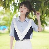 新款寬鬆拼色條紋短袖雪紡衫女學生Polo領襯衫半袖上衣夏 茱莉亞