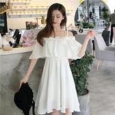 洋裝 新款女裝夏季韓版學生中長款裙子小清新一字肩吊帶兩穿連身裙