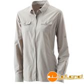 Wildland荒野 W1201-83白卡其 女拉鍊可調節抗UV襯衫
