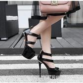 恨天高性感細跟女涼鞋16CM超高跟走秀鞋夏季新款防水臺夜店魚嘴鞋 多莉絲旗艦店