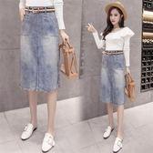 現貨不退換藍色XL中小尺码牛仔半身裙22945歐洲站牛仔裙半身裙中長裙皇潮天下
