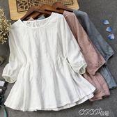 雪紡娃娃衫 文藝繡花素色小清新娃娃衫寬鬆顯瘦棉麻泡泡袖圓領上衣T恤女 coco衣巷