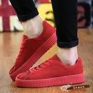 板鞋男休閒鞋紅色潮鞋貝殼頭繫帶厚底韓版潮鞋男士運動休閒學生鞋