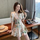 V領碎花荷葉邊裙褲女2021夏季新款韓版復古小眾御姐范洋氣連身褲 米娜小鋪