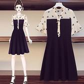 洋裝拼接裙子中大尺碼L-4XL大碼網紅雪紡拼接顯瘦收腰短袖連身裙4F093-3233.胖妹大碼