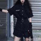 連體褲 帥氣工裝連體褲女夏季2021新款黑色顯瘦高腰短袖連衣闊腿短褲套裝