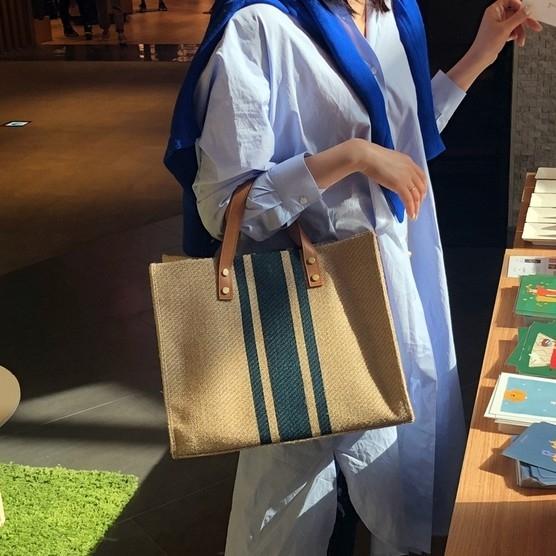托特包 韓版女士手提公文包OL職業商務通勤單肩條紋簡約方形帆布大容量包 小宅女