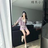 紫粉色夏天新款短袖休閒運動套裝