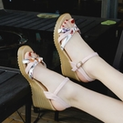 涼鞋夏季新款仙女坡跟涼鞋高跟鞋一字扣帶碎花百搭防水台魚嘴女鞋 可然精品