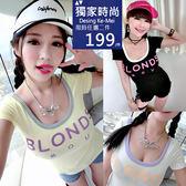 克妹Ke-Mei 【AT51861】BLONDS歐美年輕感撞色字母棒球T恤上衣