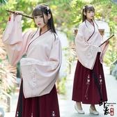 漢服古裝原創民族風繡花傳統漢服女大袖交領襦裙桃花刺繡日常套