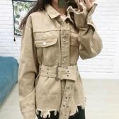 牛仔外套I11 港風直筒復古bf牛仔外套女寬松韓版系帶工裝夾克【快速出貨】
