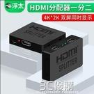 hdmi分配器1進2出 4Kx2K高清分屏器3D視頻顯示器一分二多屏幕 30HZ 3C優購