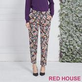Red House 蕾赫斯-滿版花朵直筒褲(黑色)