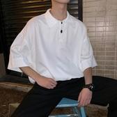 polo衫男潮牌寬鬆半袖t恤網紅短袖衣服夏季港風潮流百搭中袖