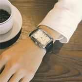網紅同款長方形手錶男學生正韓簡約大表盤皮帶復古非機械石英男表