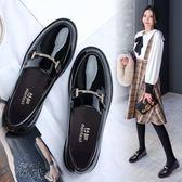 小皮鞋女英倫風2018春季新款韓版百搭一腳蹬平底黑色厚底學院單鞋『潮流世家』