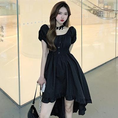 洋裝大碼連身裙方領赫本風減齡小黑裙1F-149 胖妹大碼女裝
