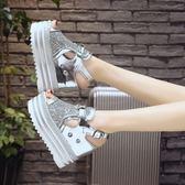 坡跟涼鞋 魚嘴鞋女性感厚底內增高鞋12cm超高跟羅馬涼鞋