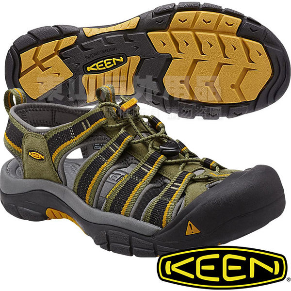 KEEN 1014181橄欖綠/黃 NewPort H2 男戶外護趾涼鞋 水陸兩用溯溪鞋 東山戶外