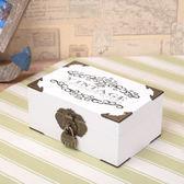 帶鎖小箱子 zakka日記本木盒子 帶鐵角明信片首飾盒 小號桌面帶鎖秘密收納盒 玩趣3C