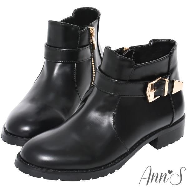 Ann'S秋冬基本款-份量金釦帶超短筒平底短靴-黑