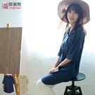 長版襯衫--自然氣息棉麻感花苞領斜開扣設計長版上衣/洋裝(藍.卡其XL-5L)-D379眼圈熊中大尺碼