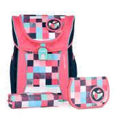 TigerFamily學院風超輕量護脊書包+文具袋+鉛筆盒--公主粉  【黃嘉千 夏天真心推薦】