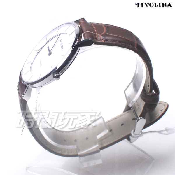 TIVOLINA 簡約 文青 防水錶 藍寶石水晶鏡面 咖啡色 男錶 MAS7003WP