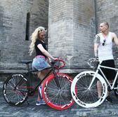 自行車 死飛自行車24/26寸成人男女學生單車活飛公路賽倒剎實心充氣 夢藝家